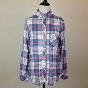New Rails Plaid Top Womens XS Pink Blue Rayon